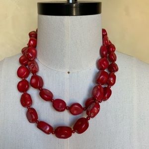 Red stone rope necklace